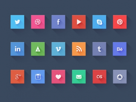 Long Shadow Flat Icon Social Set