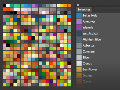 400 Swatches de color flat para Photoshop