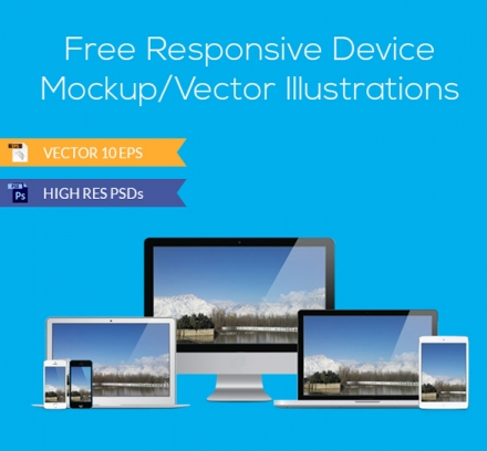 Free Responsive Device Mockup and Vector Illustrations