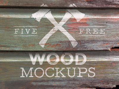5 Wood Logo Mockup