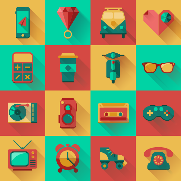 16 flat hipster icons vector