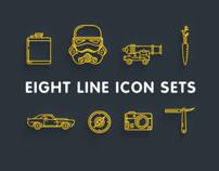 eight line icon set