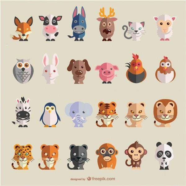 vector animals flat