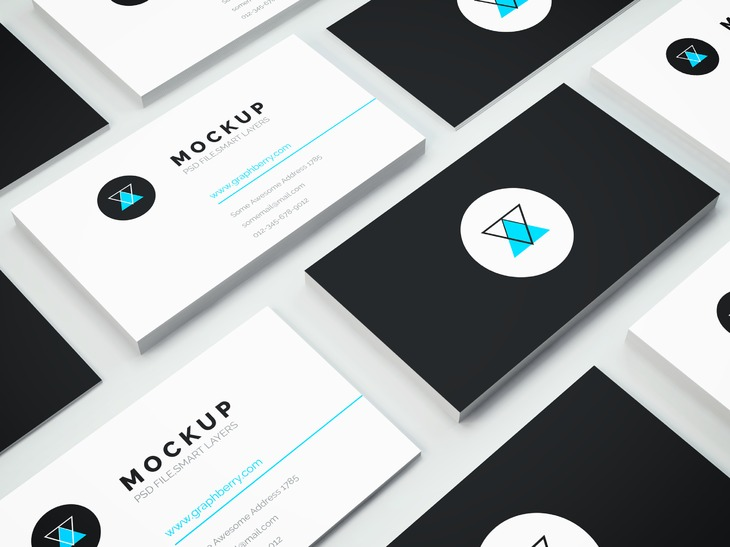 isometric business cards mockup